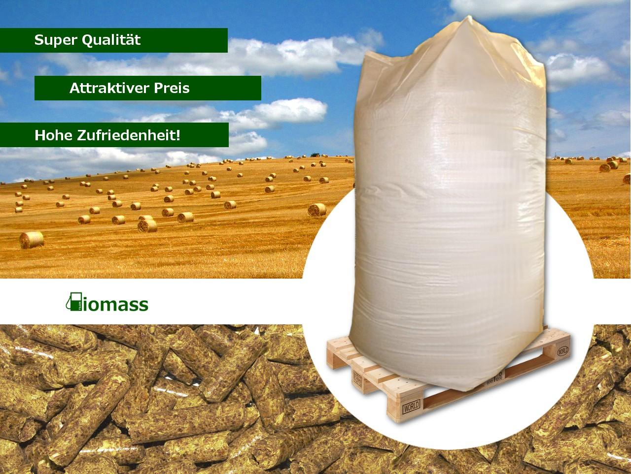 Rapsstrohpellets 8 mm 1 000 kg im Big Bag auf Einwegpalette